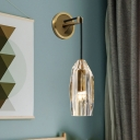 1 Bulb Geometric Wall Sconce Simple Gold Clear Crystal Glass LED Wall Light Fixture for Living Room
