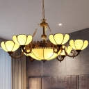 Yellow Glass Bronze Chandelier Blossom 8 Lights Tiffany Style Pendant Light Fixture for Bedroom