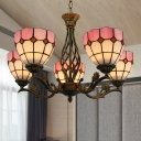 Grid Ceiling Chandelier 5 Lights Stained Art Glass Mediterranean Hanging Lamp in Pink for Living Room