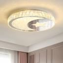 Circle Ceiling Mounted Fixture Modern Beveled Crystal LED Nickle Flush Mount Lighting in Warm/White Light