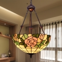 Tiffany Floral Chandelier Light 2 Heads Stained Art Glass Hanging Lamp in Red/Purple/Green for Dining Room