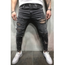 Men's Simple Ink Splash Printed Solid Color Gray Zipper Fly Ripped Wash Jeans