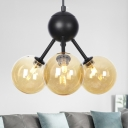 Globe Chandelier Lighting Contemporary Amber Glass 3 Heads Living Room Hanging Pendant Light