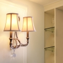 Empire Shade Bedroom Wall Mount Light Fixture French Country Fabric 1/2 Lights White Sconce