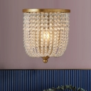 Brass 1 Light Wall Light Fixture Traditional Stylish Clear Crystal Beaded Sconce for Bedroom