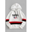 Hot Popular American Flag NASA Print Contrast Striped Long Sleeve White Oversized Hoodie