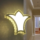 LED Bedroom Wall Sconce Lighting Simple White Wall Light Fixture with Crown Hand-Cut Crystal Shade in Warm/White Light