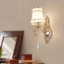 Gold Bell Wall Mount Light Fixture Traditional Crystal 1 Head Bathroom Wall Sconce Lighting