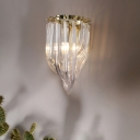 Geometric Clear Glass Sconce Light Modernism 1 Bulb Wall Lighting Fixture for Living Room