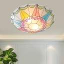 3/4 Lights Flush Light Tiffany Domed Shade Stained Glass Flushmount Lighting in Pink for Living Room, 16