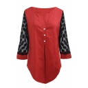 Women's Casual Long Sleeve V-Neck Button Front Polka Dot Sheer Mesh Patched Asymmetric Loose Plain Blouse