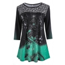 Sparkly Fancy Three-Quarter Sleeve Boat Neck Floral Pattern Contrasted Sequined Decoration Loose Fit T Shirt for Girls