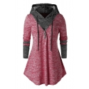 Women's Simple Long Sleeve Drawstring Zipper Embellished Contrasted Curved Hem Relaxed Hoodie