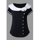 Preppy Girls' Short Sleeve Peter Pan Collar Button Front Contrasted Slim Fit T Shirt
