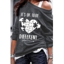 Street Girls' Long Sleeve Drop Shoulder IT'S OK TO BE DIFFERENT Letter Puzzle Pattern Loose Pullover Sweatshirt