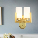Gold Armed Sconce Light Contemporary 2 Bulbs Metal Wall Mount Lighting with Opal Glass Shade