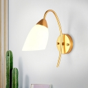 Milky Glass Flared Wall Lamp Modern 1 Head Gold Sconce Light Fixture with Metal Curved Arm