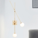 2 Bulbs Armed Wall Lighting Minimalist Metal Sconce Light Fixture in Black/Gold for Dining Room