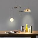 2/4 Bulbs Armed Pendant Chandelier Modernism Metal Suspended Lighting Fixture in Black-Gold