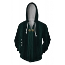 Mens Stylish Black and Green Long Sleeve Zip Up Side Pockets Cosplay Hoodie