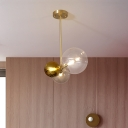 3 Heads Round Semi Flush Light Modernist Clear Glass Ceiling Mounted Fixture in Gold