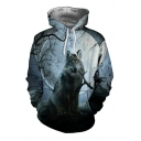 New Trendy Full Moon and Wolf 3D Print Long Sleeves Oversized Gray Hoodie