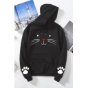 Casual Long Sleeve Drawstring Kitty Pattern Kangaroo Pocket Relaxed Fit Hoodie for Girls