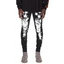 Hot Popular Splash Paint Printed Zip Fly Skinny Fit Cool Jeans for Men