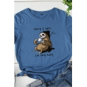 Simple Letter SORRY I CAN'T I'M VERY BUSY Sloth Print Short Sleeves Crewneck Casual Tee