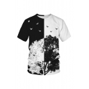 Creative Trees Birds Floral Wolf 3D Printed Short Sleeves Round Neck Casual T-Shirt