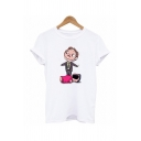 Women's Cute Puppet Doll Printed Short Sleeves Crewneck White Fashion T-Shirt