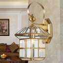 1-Head Brass Wall Light Traditionalism Lantern Metal Wall Sconce Lighting for Living Room