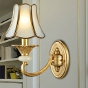 Bell Metal Wall Sconce Traditional 1/2 Bulbs Living Room Wall Mounted Light Fixture in Brass