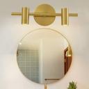 Cylinder Bathroom Vanity Lighting Traditional Metal 2/3/4-Light LED Brass Wall Mount Lamp