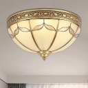 3/4 Lights Frosted Glass Flush Mount Lighting Fixture Traditional Gold Bowl Living Room Close to Ceiling Light, 12.5