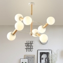 Bubble Frosted Glass Chandelier Lighting Nordic Stylish 8/12 Lights White Hanging Pendant Light for Bedroom