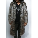 Mens Cool Dark Gray Long Sleeves Notched Collar Longline Faux Fur Coat
