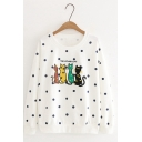 Cute Four Cats Embroidery Polka Dot Print Long Sleeve Round Neck Loose Pullover Sweatshirt