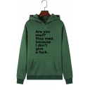 Simple Letter ARE YOU MAD Printed Long Sleeve Pouch Pocket Casual Hoodie