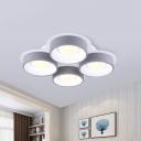 Drum Ceiling Light Fixture Minimalist Metal Gray LED Flush Mount Lighting, 21.5