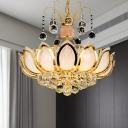 Lotus Hanging Light Fixture Modern Crystal Ball 4/5/8 Heads Gold Chandelier Lighting