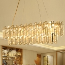Oval Crystal Block Chandelier Lamp Traditional 7 Heads Dining Room Suspension Light in Gold