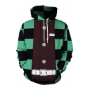 New Stylish Plaid Triangle 3D Print Colorblock Patchwork Long Sleeve Drawstring Hoodie