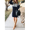 Elegant Fancy Ladies' Long Sleeve Round Neck Contrasted Patched Fluffy Knit Midi Loose Pullover Sweater Dress