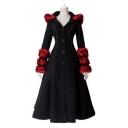 Punk Fashion Women Gothic Style Lace-Up Single Breasted Back Hooded Longline Plush Wool Coat