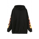 Black Cool Street Long Sleeve Flame Patterned Kangaroo Pocket Baggy Tunic for Girls