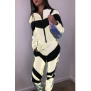 Unique Reflective Chevron Panel Long Sleeve Zip Up Coat with Colorblock Pants Two Pieces Sport Set