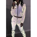 Reflective Fashion Long Sleeve Zip Up Crop Coat & Drawstring Waist Pants Two Piece Co-ords