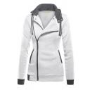 Womens Exclusive Contrast Lapel Collar Side Zip Long Sleeve Thick Hoodie Coat
