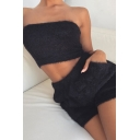 Womens Sexy Solid Color Bandeau Tube Top with Dual Pocket Shorts Fuzzy Co-ords
